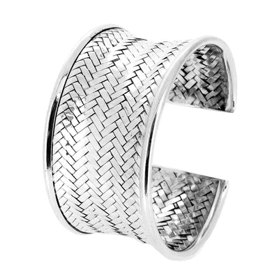 Sterling Silver Weave Cuff Bangle
