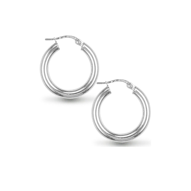 Classic 3mmx20mm Sterling Silver Hoop Earrings