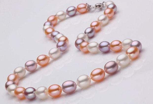Multicolour Necklace, Pearl, Bracelet Freshwater Pearls Set