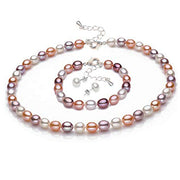 7-8mm Multi Colour Necklace, Bracelet and Earrings Freshwater Pearls Set