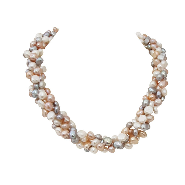 Multi Coloured Baroque Twisted Pearl Necklace, 7-8mm