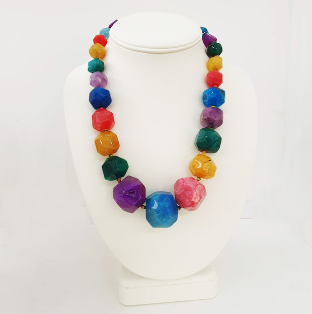 Chunky Multi-Colour Faceted Agate Gemstone Necklace
