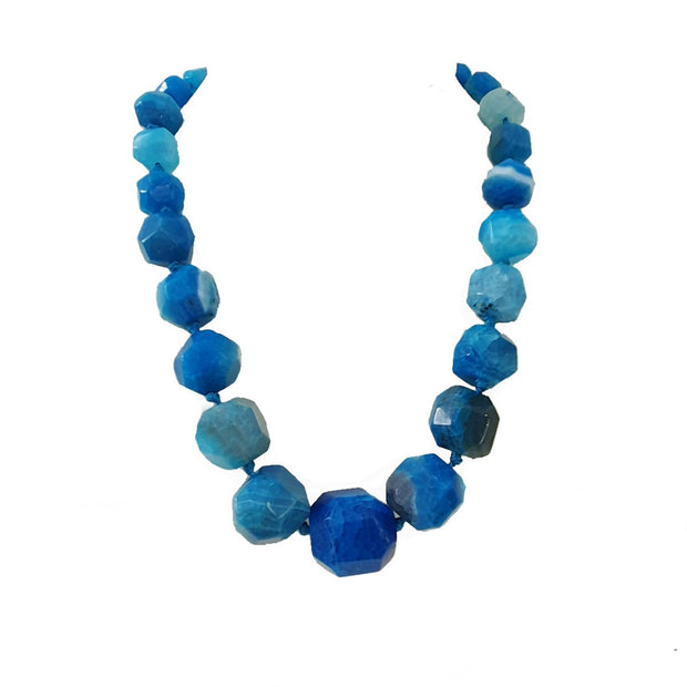 Chunky Blue agate gemstone necklace for women