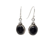 Natural Oval Black Agate Pendant and Earring Set in 925 Silver
