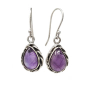 Natural Teardrop Amethyst Pendant and Earring Set in 925 Silver