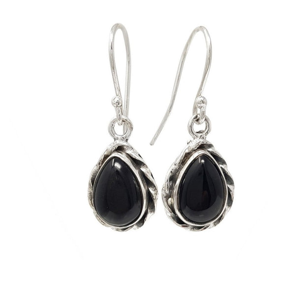 black agate gemstone and silver earrings