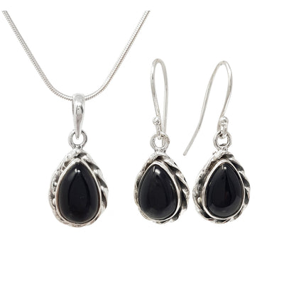 black agate gemstone and silver jewellery set for women