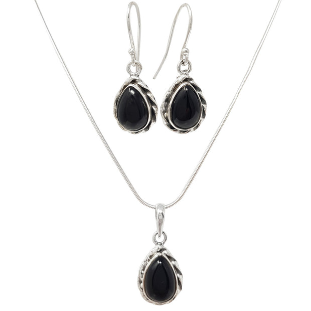 Silver and Black Agate Teardrop Pendant and Earring Set
