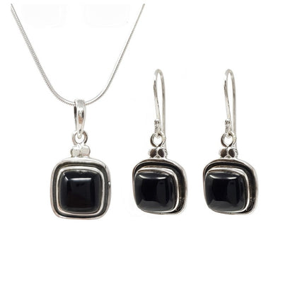 black agate and sterling silver necklace earrings set