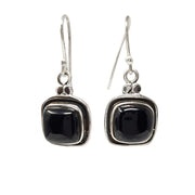Stunning Natural Black Agate Pendant and Earring Set in 925 Silver