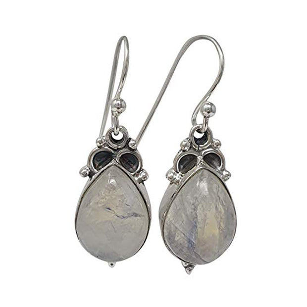 Natural Moonstone Earrings Inlaid in 925 Sterling Silver