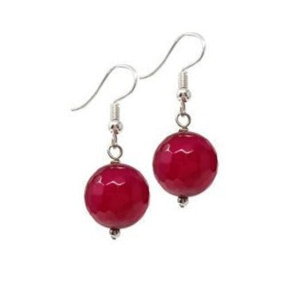 Facted Pink Agate Drop Earrings, 14mm