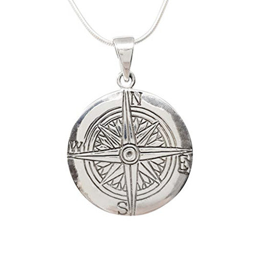 sterling silver compass pendant
