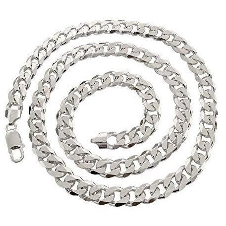 Sterling Silver Heavy Curb Trace Chain, 9mm