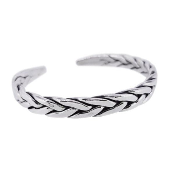 mens braided silver bangle