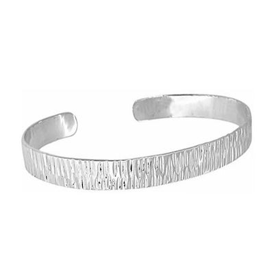 textured hammered silver bangle