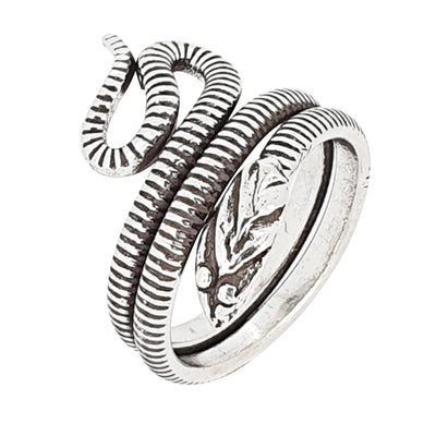 Silver Oxidized Snake Coil Infinity Fashion Ring
