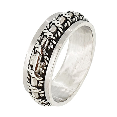 Men silver spinning ring