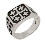 Silver viking shield cross ring