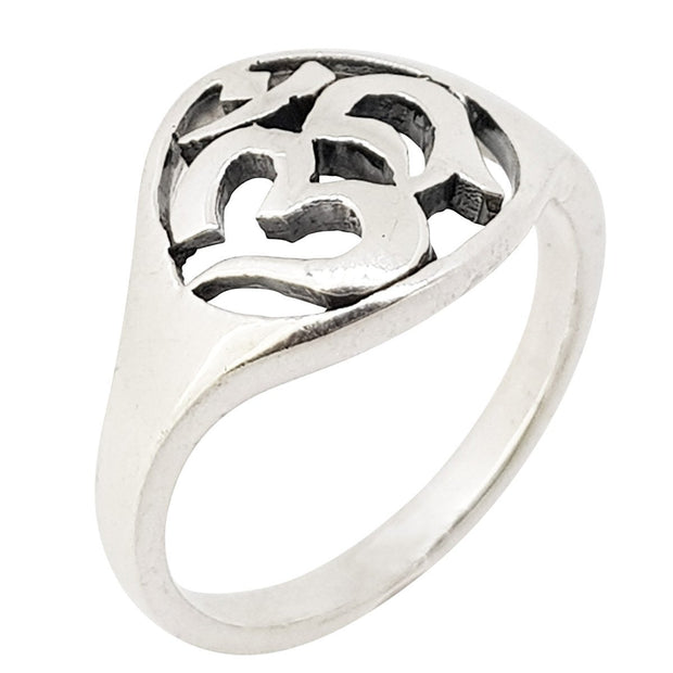 ohm auh silver ring for women