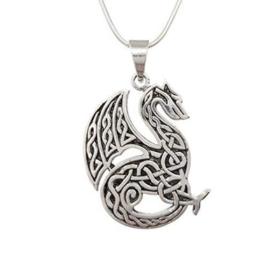 sterling silver celtic welsh dragon pendant