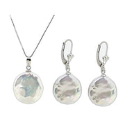 Sterling Silver and Coin Freshwater Pearl Pendant Necklace and Earrings set