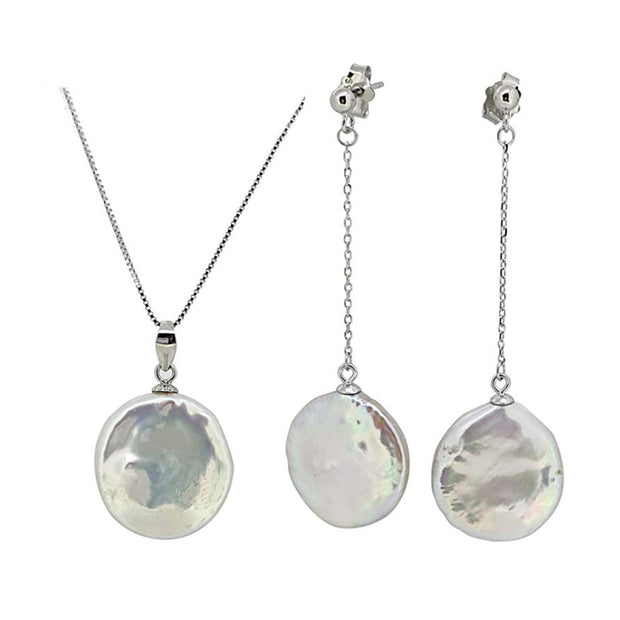Sterling Silver and Coin Freshwater Pearl Pendant and Drop Earrings