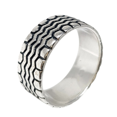 9mm Stripe Sterling Silver Ring
