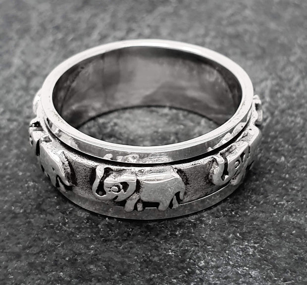 8mm Sterling Silver Elephants Spinning Ring