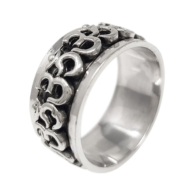 Sterling silver 11mm Ohm Design Spinning Ring
