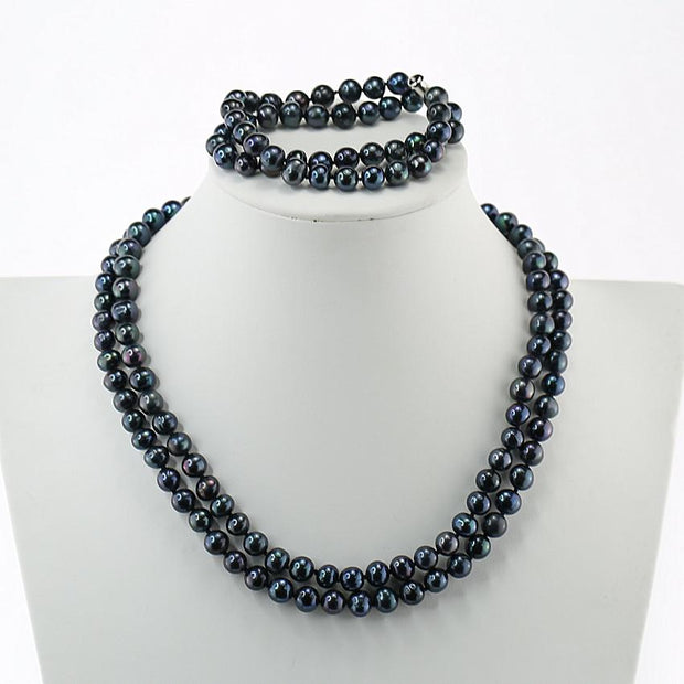 two row pearl necklace set black