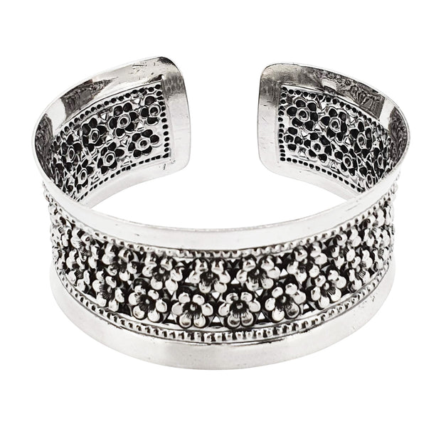 flowers bangle silver women