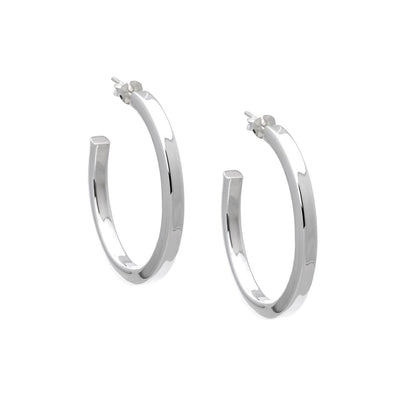 3mm x 30mm Silver Half Hoop Stud Earrings