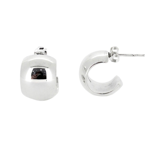 Chunky silver Stud hoop earrings for women