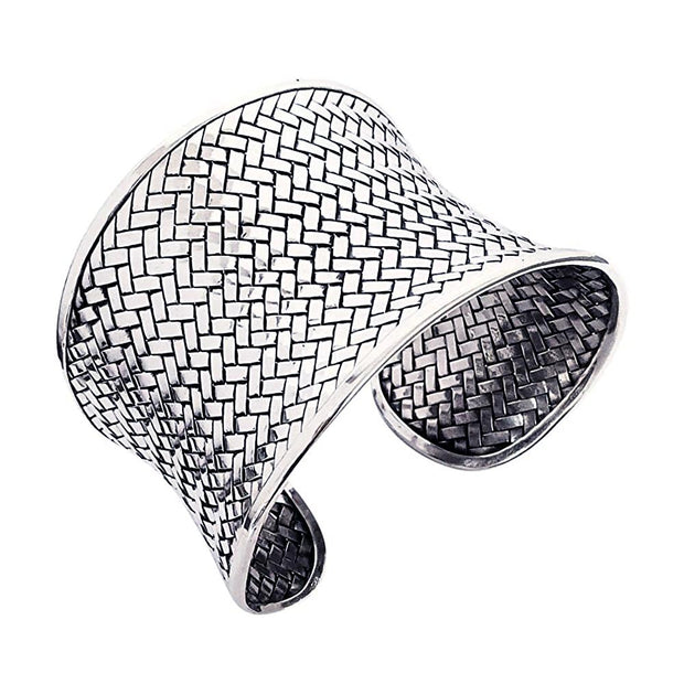 Chunky Statement Silver Cuff Bangle for Women
