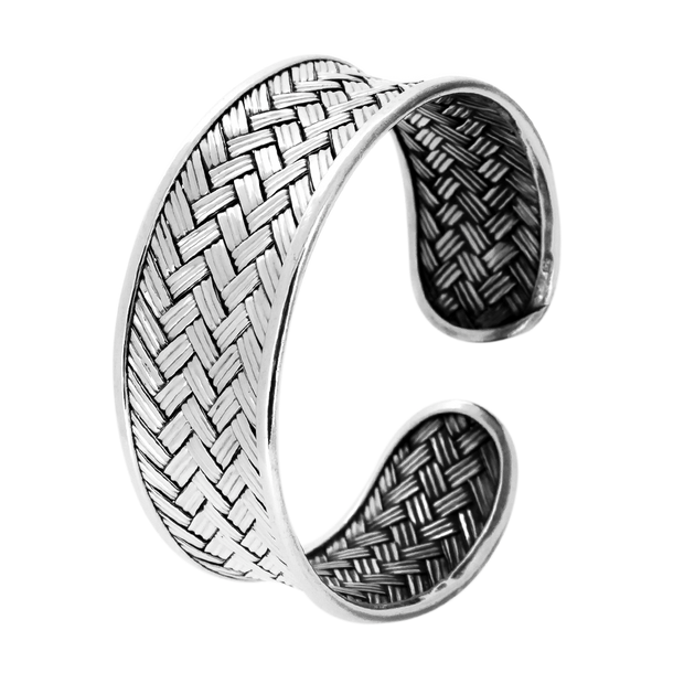 woven silver cuff for women