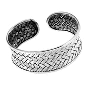 chunky braid silver bangle for women
