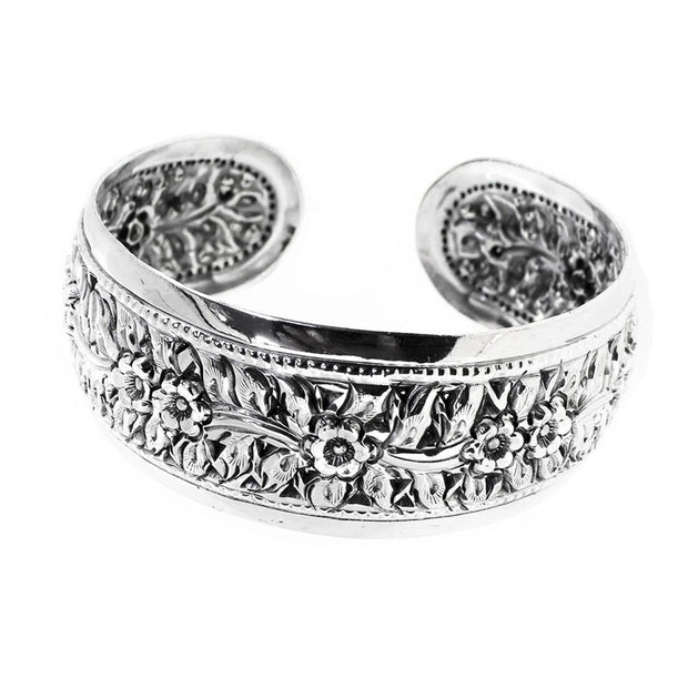 women's Statement silver bangle Floral