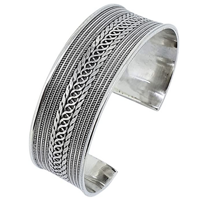 Sterling Silver Chain Inlay Cuff
