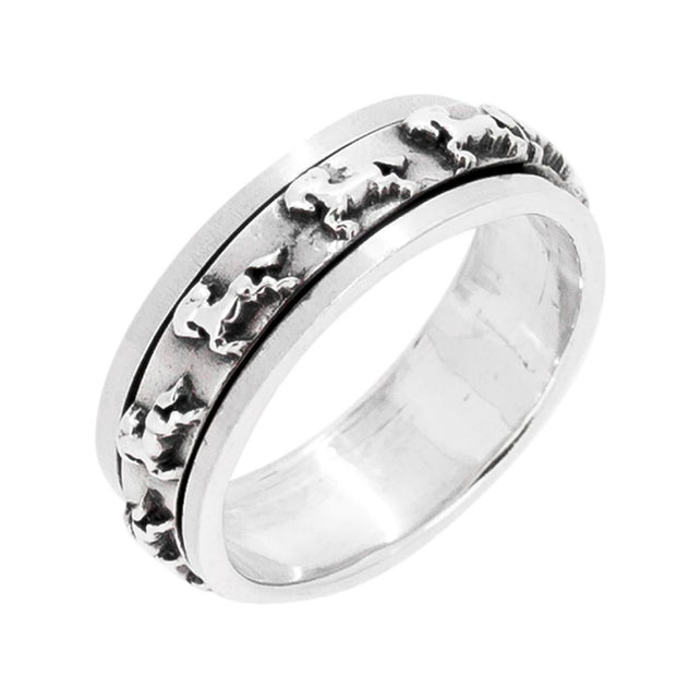 Sterling Silver Spinning Ring with Horse Design