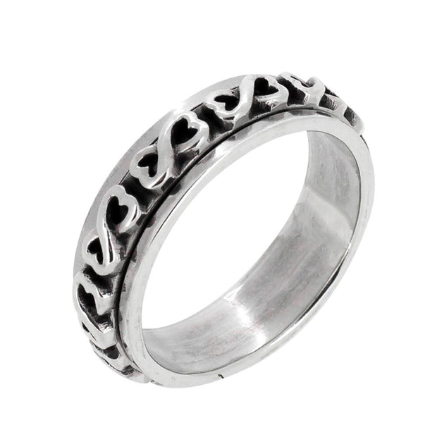 Silver Infinity Heart Spinning Ring for Women