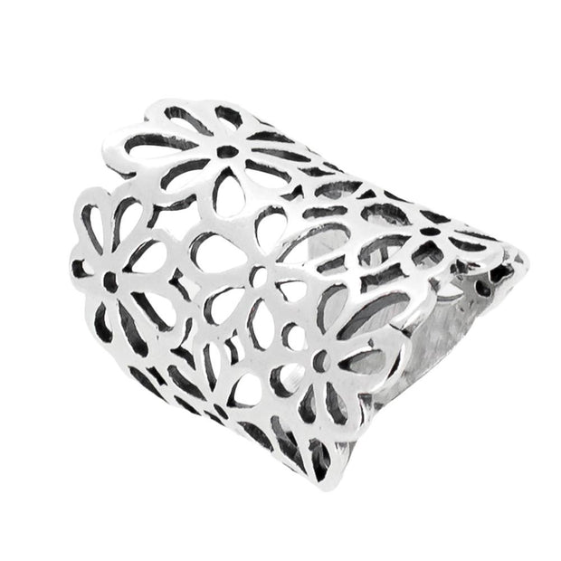 Chunky statement floral ring for women silver