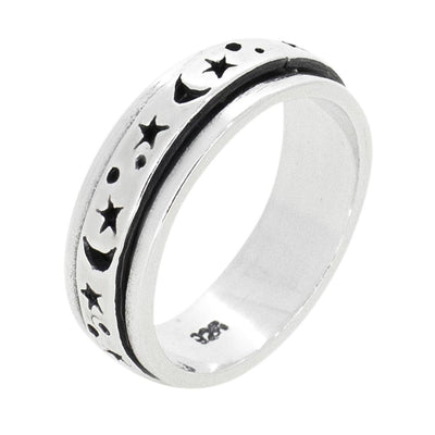 6mm Moon and Stars Sterling Silver Spinning Ring