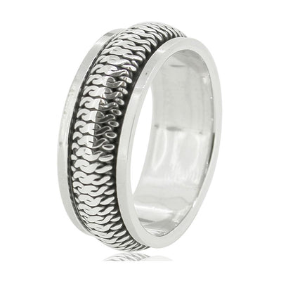 MENS 8MM Wide Braided Design Silver Spinner Ring