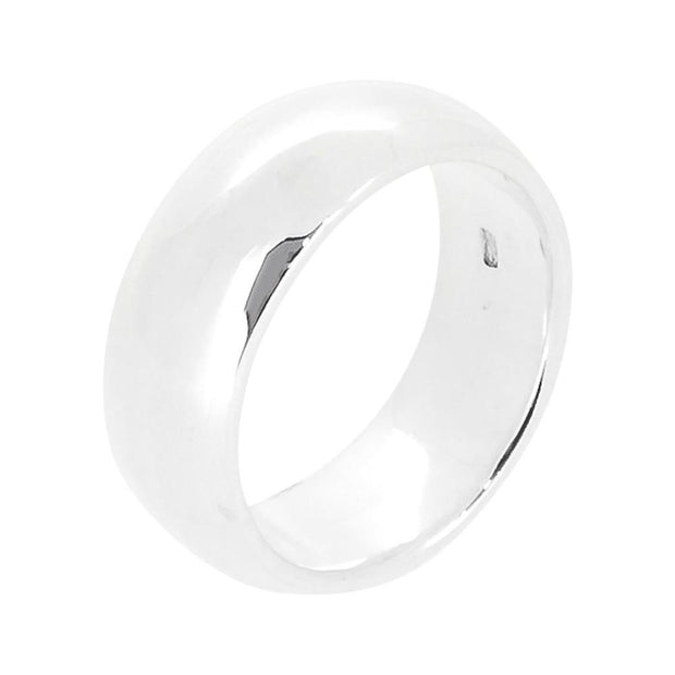 7mm Polished Silver Band Ring For Women and Men