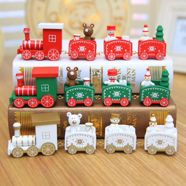 4 Knots Christmas Train Painted Wooden Christmas Decoration for Home with Santa Kids Toys Ornament Navidad 2019 New Year Gift,Q