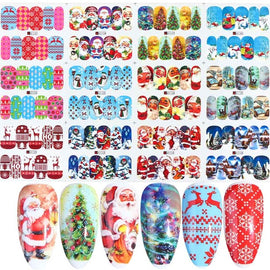 12pcs Christmas Nail Stickers Santa Claus Elk Snowman Water Transfer Decal Xmas Cartoon Winter New Year Manicure Tool JIBN/A-1