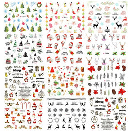 11Sheet 3D Santa/Claus/Elk/Snowman Design Nail Adhesive Stickers Christmas New Year Nail Decals Wraps Manicure Decoration Tools