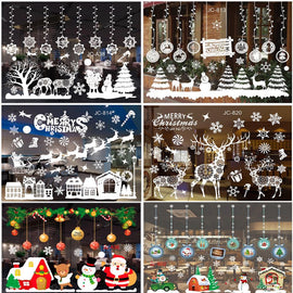 2019 Christmas Garland Window Sticker Wall Merry Christmas Decorations for Home Cristmas Decor Santa Claus Happy New Year 2020