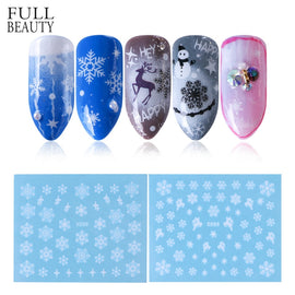 1 Sheets Xmas Sticker for Nail Decals Snowflakes White Slider DIY Watermark Deer Nail Art Christmas New Year Decor CHSTZ419-439